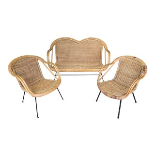 Mid Century Rattan Wicker Bamboo Patio Set - 3 Pieces For Sale