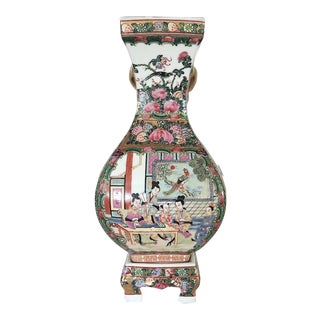 Antique Chinese Qing 'Rose Mandarin' Porcelain Vase on Matching Stand For Sale