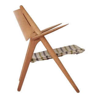 1950s Vintage Hans Wegner Oak Sawbuck Armchair For Sale
