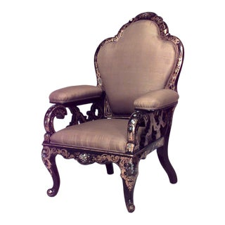 English Victorian Lacquered Arm Chair For Sale