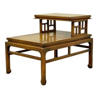 Vintage Hollywood Regency Asian James Mont Modern Side Accent Lamp Step Table