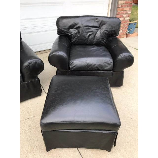 Custom Made Leather Sofa & Chair With Ottoman - Set of 3 - Image 4 of 11