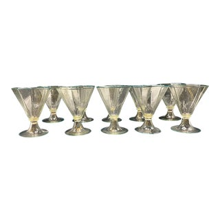 1920s Murano Octagonal Wine Glasses - Set of 10 For Sale