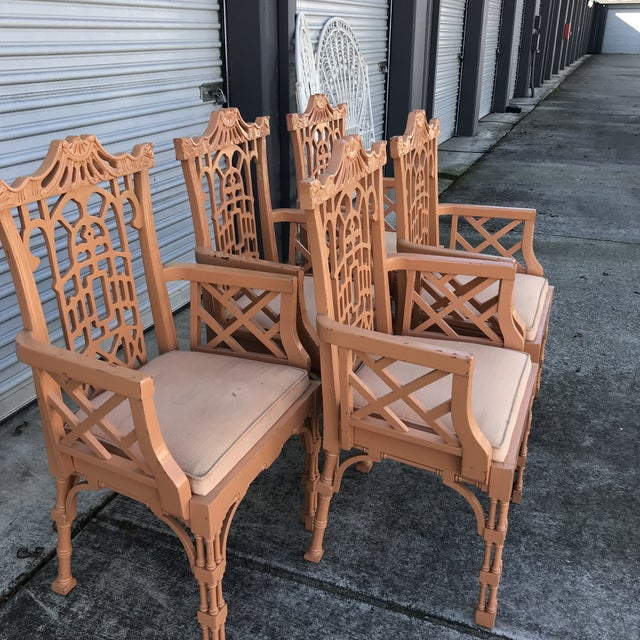 Vintage Fretwork Chinese Chippendale Dining Chairs - Set of 5 For Sale - Image 10 of 13