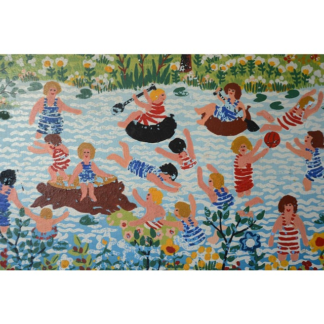 Mid 20th Century Modernist Celebratory Life Scene Paintings - a Pair For Sale - Image 5 of 9