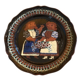 Vintage Decorative Black Plate Made in Switzerland For Sale