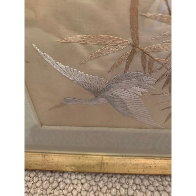 Champagne Antique Framed Fine Needlework of Herons -A Pair For Sale - Image 8 of 11