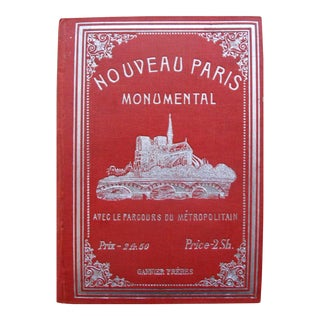 1900s Original Garnier Pocket Monument Map or Plan of Paris, Nouveau Paris Monumental