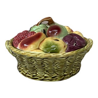 1920 Sarreguemines Majolica Fruits Basket For Sale