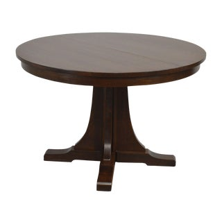 "Stickley Mission Collection 46"" Round Oak Dining Table W/ 2 Leaves For Sale"
