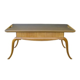 Chic Italian Mid-Century Pear Wood Cocktail Table With Splayed Legs For Sale