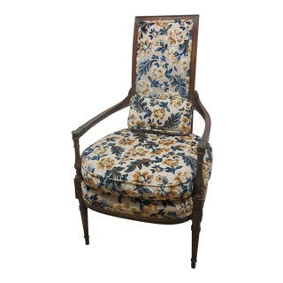 Vintage French Regency Provincial Fireside Lounge Club Chair For Sale