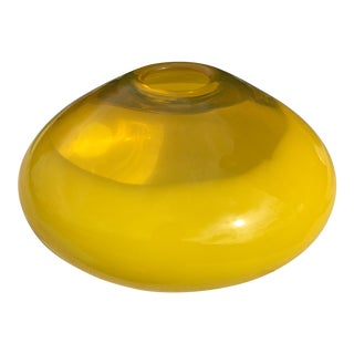 Modern Art Glass Citrine Yellow Vase