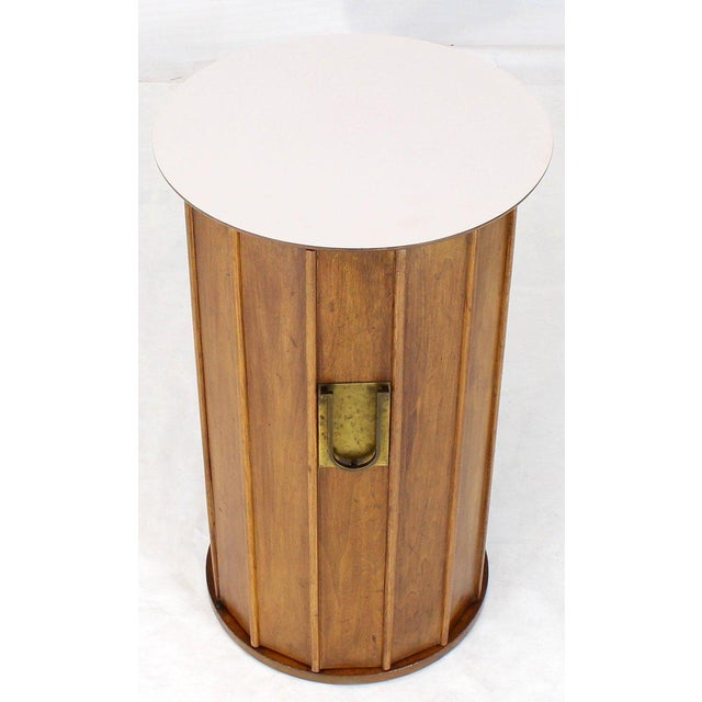 Round Cylinder Shape Pedestal Bar Cabinet Storage Cabinet With Brass Hardware For Sale - Image 12 of 12