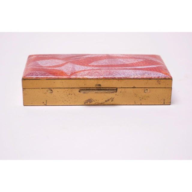 Mid-Century Modern Mid-Century Modern Enamel and Brass Cigarette Holder / Trinket Box For Sale - Image 3 of 10