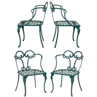 Looped Back Patio Chairs, Set of 4 For Sale