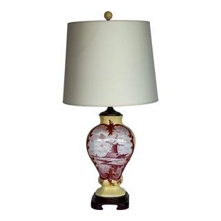 Vintage 1920s Delft Vase Lamp For Sale