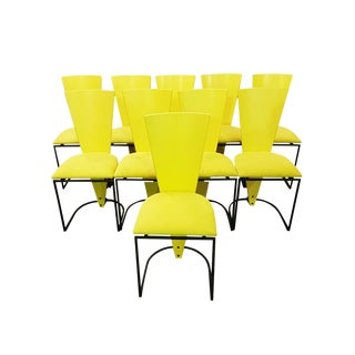 Set of Ten Mid-Century Modernist Art Deco Style Italian Newly Upholstered Yellow High Back Designer Dining Chairs For Sale