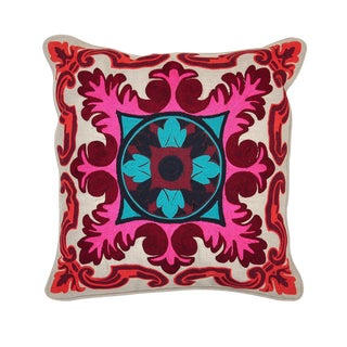 Berry Embroidered Linen Pillow