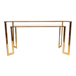 1970's Vintage Brass-Plated Two-Tier Console Table For Sale