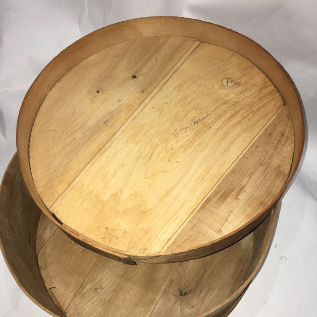 Sienna Vintage Round Wood Large Cheese Box For Sale - Image 8 of 11