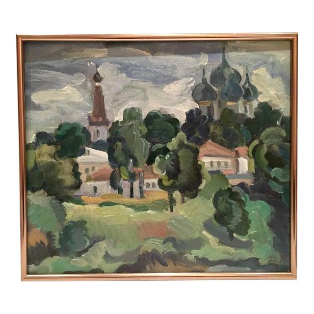 Original Oil on Burlap Landscape Painting - Image 1 of 10