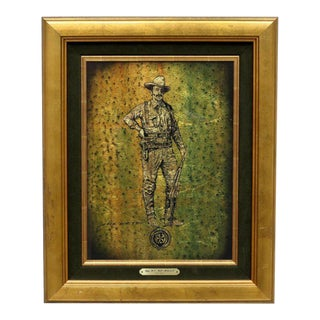 "Set of 4 Jack White Gold Leaf Framed Gilt Foil Art- ""Texas Rangers"" c. 1930"