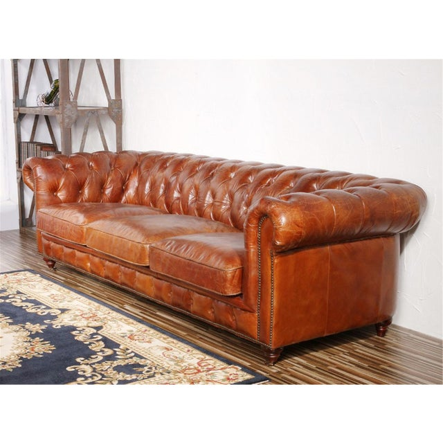 Pasargad Leather Chester Bay Tufted Sofa - Image 3 of 5
