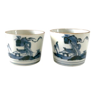 18th Century Antique Edo Period Japanese Soba-Choku (Choko) Blue Underglaze Cups - a Pair For Sale