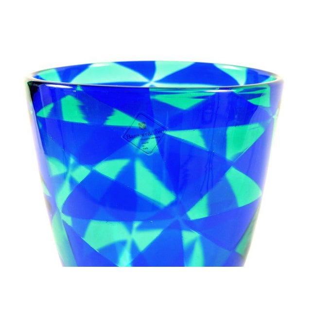 Barovier & Toso Barovier & Toso Blue Mosaic Triangle Murano Venezia Glass Vase For Sale - Image 4 of 6