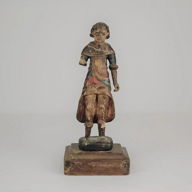 19th Century 19th Century Carved Wood Youth For Sale - Image 5 of 13