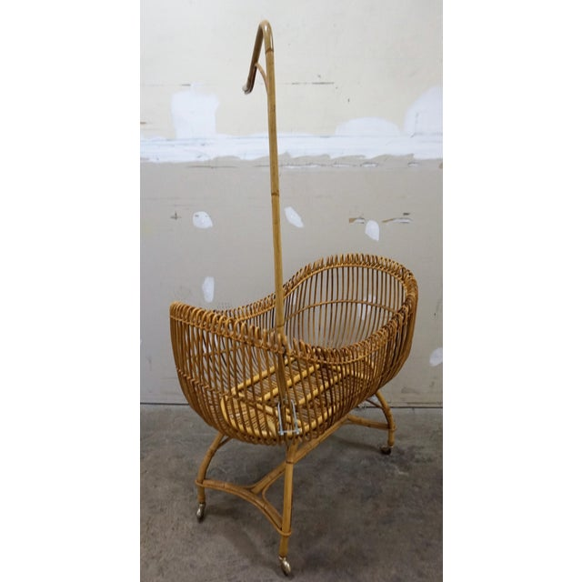 Boho Chic 1950s Vintage Franco Albini Style Bamboo Cradle For Sale - Image 3 of 12