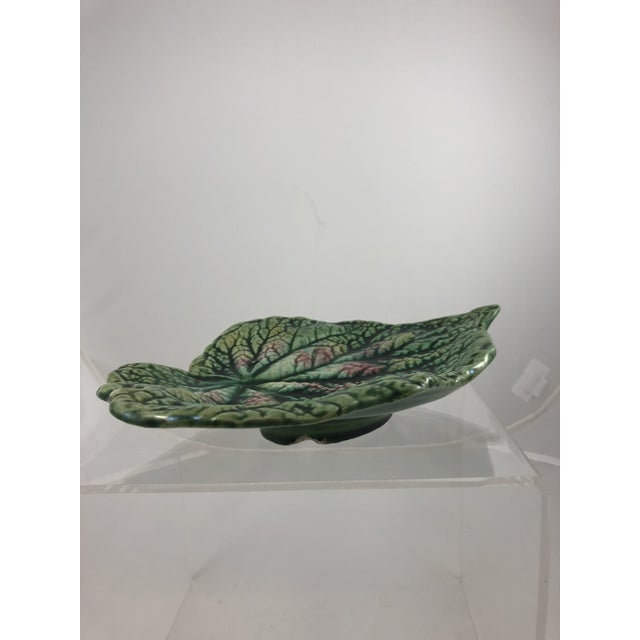 French Majolica Leaf Plate. No makers markings. Hand painted in rich green and pink. Minimal wear.