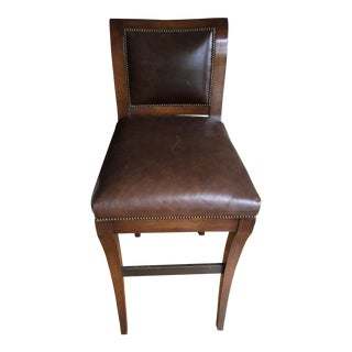 Nancy Corzine Leather Bar Chair For Sale