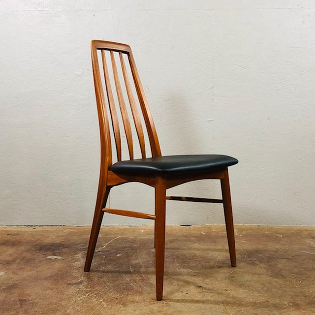 Set of four immaculate teak dining chairs by Niels Koefoed for Koefoed Hornslet. Circa 1960's. Leather seats.