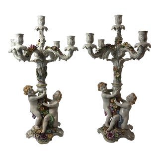 Von Shierholz Figural Porcelain Candelabras - A Pair For Sale