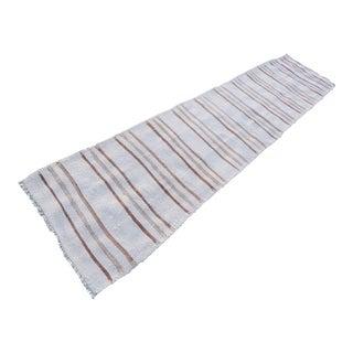 Hand Woven Minimal Runner Rug Pure Hemp Primitive Runner 2′7″ × 11′9″ For Sale