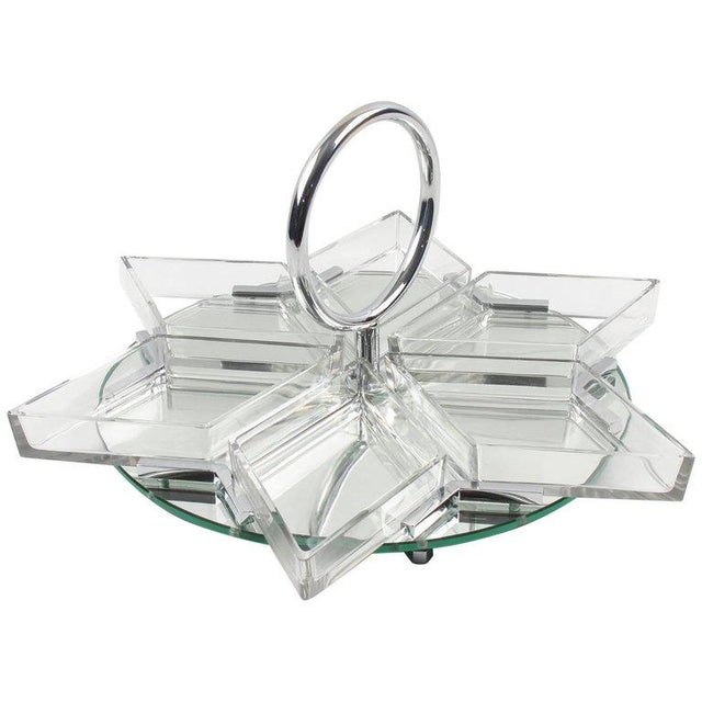 French Art Deco Cocktail Set Barware Mirror Serving Tray and Dishes For Sale - Image 10 of 10