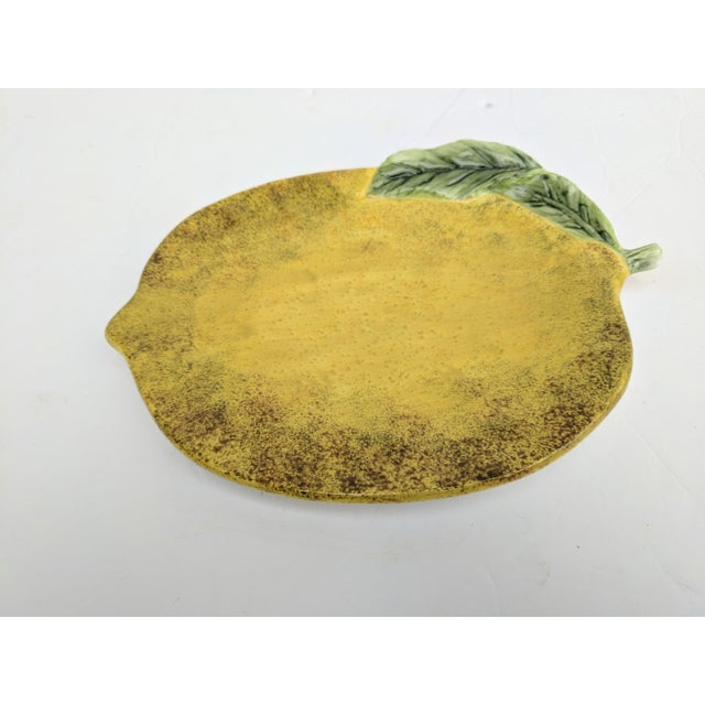 Green Glazed Ceramic Lemon Decorative Plate For Sale - Image 8 of 8