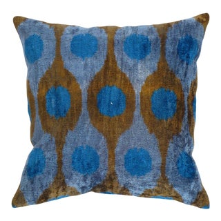 Turkish Hand Woven Velvet Ikat Pillow 20'' #Ti 291 For Sale