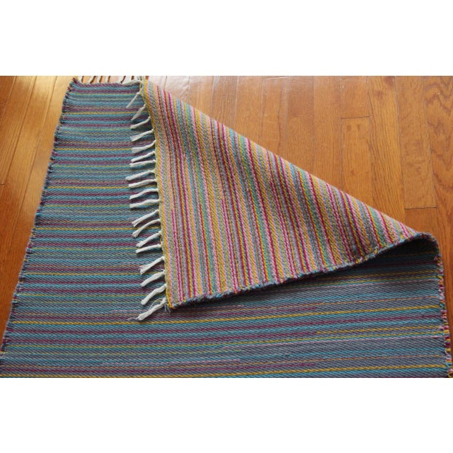 "Flat Weave Wool Striped Blue Kilim Rug - 2'8"" x 7'6"" - Image 10 of 10"