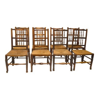 19th-Century Country Oak Chairs-Set of Eight (8) For Sale
