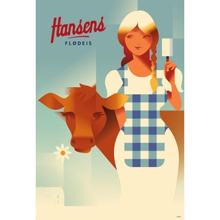 Contemporary Danish Poster, Farm Girl With Cow, Mads Berg For Sale