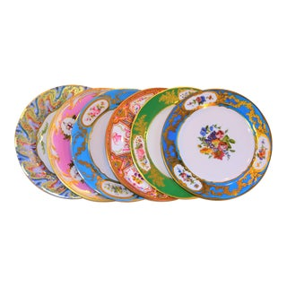 Enamaled Tin English Plates - Set of 6 For Sale