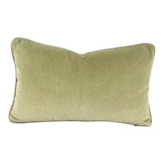"F. Schumacher Gainsborough Velvet in Nile Green With Self-Welt Lumbar Pillow Cover - 12"" X 20.5"" For Sale"