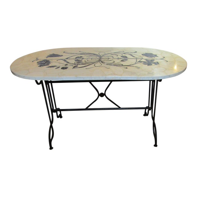 Marble Topped Wrought Iron Table - Image 1 of 6
