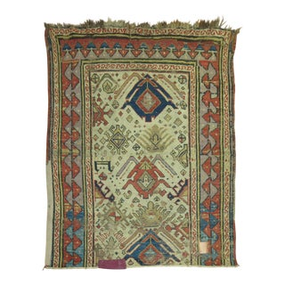 Mid 19th Century Antique Caucasian Fragment Rug, 3'7'' X 4'2''
