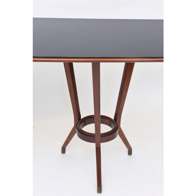 Gold Italian Modern Mahogany, Brass and Black Glass Console Table, Guglielmo Ulrich For Sale - Image 8 of 10
