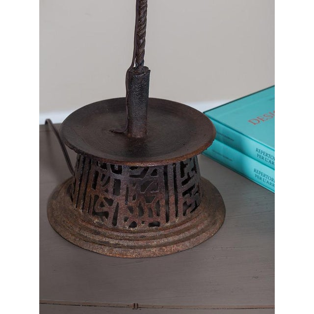 Brown 19th Century Indian Handsome Hand-Made Antique Iron Candlestick Lamp For Sale - Image 8 of 8