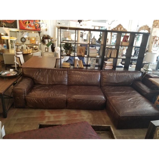 American Leather Oversized Brown Leather Sectional Sofa | Chairish